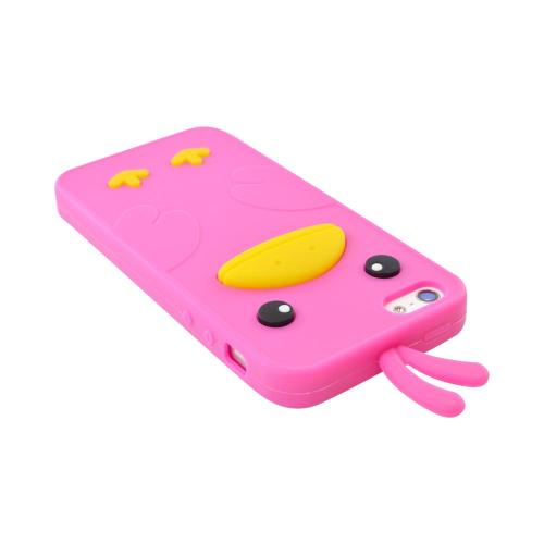 Apple iPhone SE / 5 / 5S  Case,  [Hot Pink Duck]  Slim & Flexible Anti-shock Crystal Silicone Protective TPU Gel Skin Case Cover