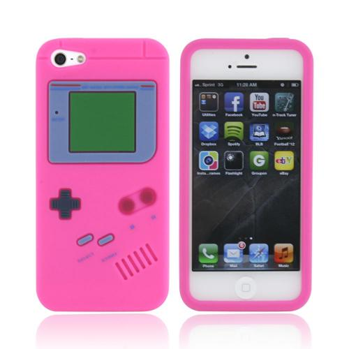 Apple iPhone SE / 5 / 5S  Case,  [Hot Pink Retro Gamer]  Slim & Flexible Anti-shock Crystal Silicone Protective TPU Gel Skin Case Cover