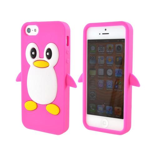 Apple iPhone 5/5S Silicone Case - Hot Pink Penguin