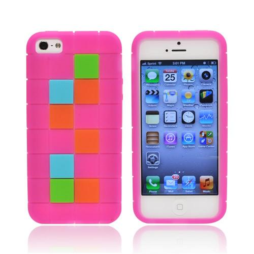 Apple iPhone SE / 5 / 5S  Case,  [Green/ Blue/ Brown Blocks on Hot Pink]  Slim & Flexible Anti-shock Crystal Silicone Protective TPU Gel Skin Case Cover