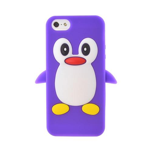 Apple iPhone 5/5S Silicone Case - Purple Penguin