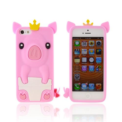 Apple iPhone 5/5S Silicone Case - Pink Royal Piglet
