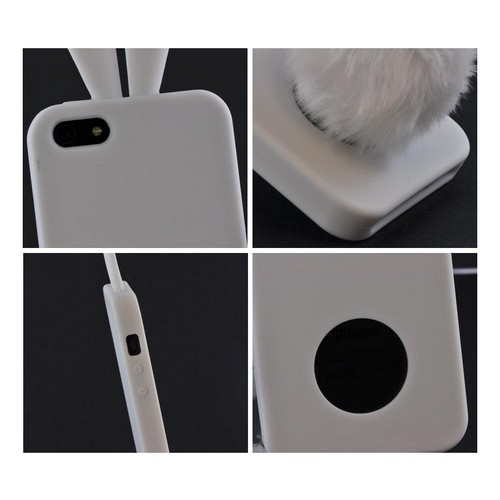 Apple iPhone 5/5S Silicone Case w/ Fur Tail Stand - White Bunny