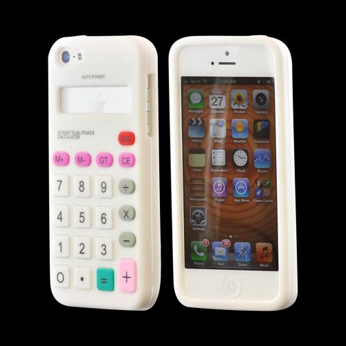 Apple iPhone 5/5S Silicone Case - White Calculator