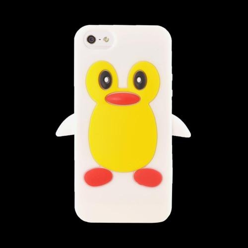 Apple iPhone 5/5S Silicone Case - White Penguin