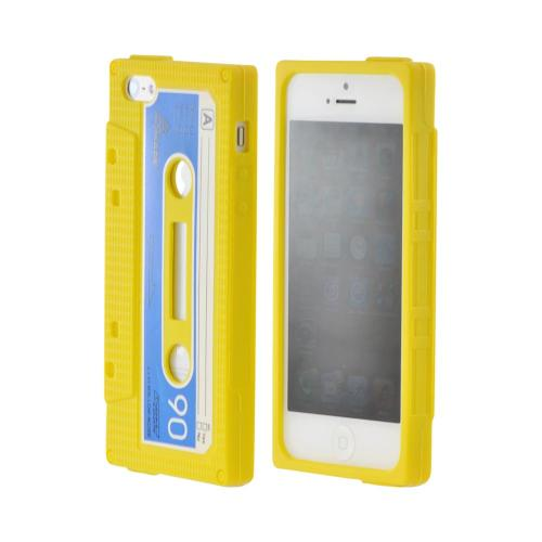 Apple iPhone SE / 5 / 5S  Case,  [Yellow Cassette Tape Design]  Slim & Flexible Anti-shock Crystal Silicone Protective TPU Gel Skin Case Cover