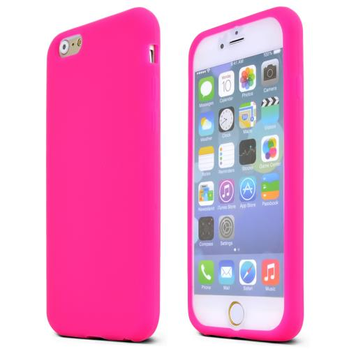 Apple iPhone 6/ 6S Case,  [Hot Pink]  Slim & Flexible Anti-shock Crystal Silicone Protective TPU Gel Skin Case Cover