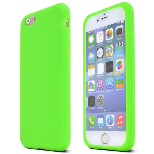 Apple iPhone 6/ 6S Case,  [Neon Green]  Slim & Flexible Anti-shock Crystal Silicone Protective TPU Gel Skin Case Cover