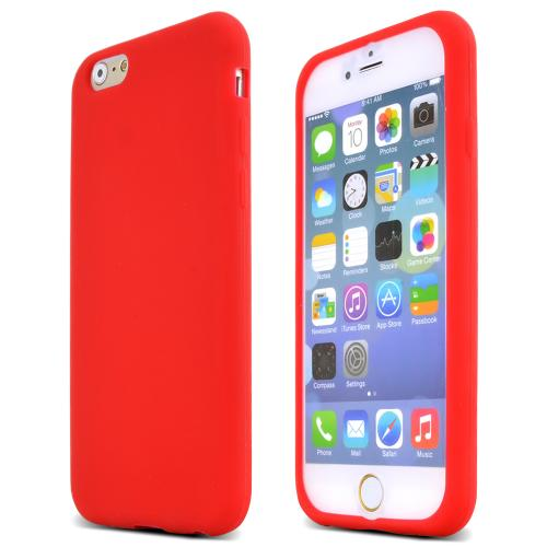 Apple iPhone 6/ 6S Case,  [Red]  Slim & Flexible Anti-shock Crystal Silicone Protective TPU Gel Skin Case Cover
