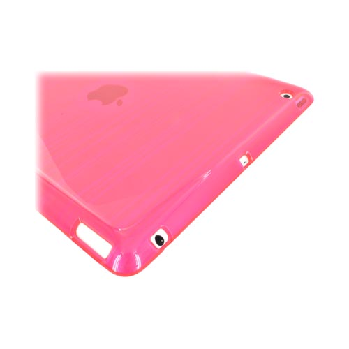 Apple iPad 2, New iPad Crystal Silicone Case - Stripes on Hot Pink