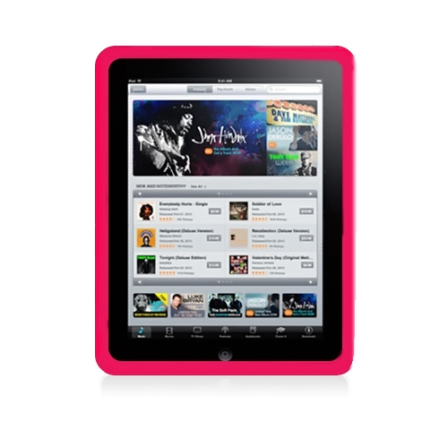 Apple iPad (1st Gen) 1st Silicone Case, Rubber Skin - Red