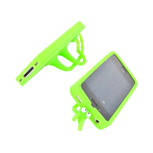 AT&T/ Verizon Apple iPhone 4, iPhone 4S Silicone Case w/ Stand - Green Bug - XXIP4