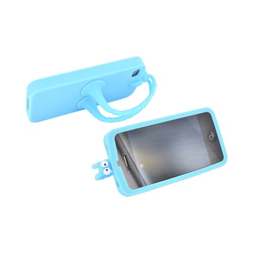 AT&T/ Verizon Apple iPhone 4, iPhone 4S Silicone Case w/ Stand - Sky Blue Bug - XXIP4