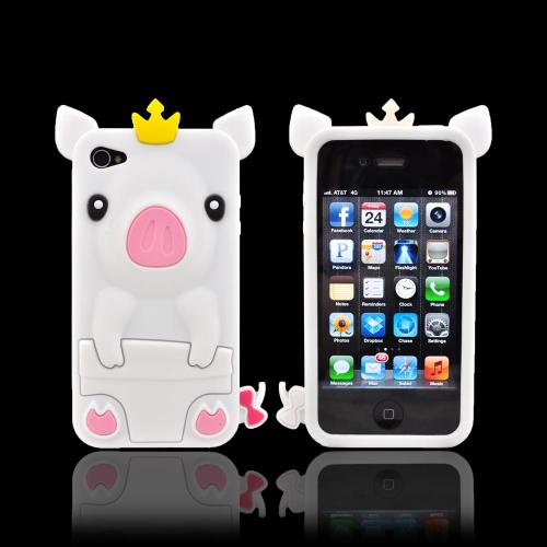 Apple iPhone 4/4S Silicone Case - White Royal Piglet