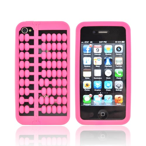 AT&T/ Verizon Apple iPhone 4, iPhone 4S Silicone Case - Hot Pink Abacus