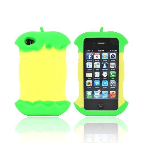 AT&T/ Verizon Apple iPhone 4, iPhone 4S Silicone Case w/ Cord Wrapper - Green Apple Core - XXIP4
