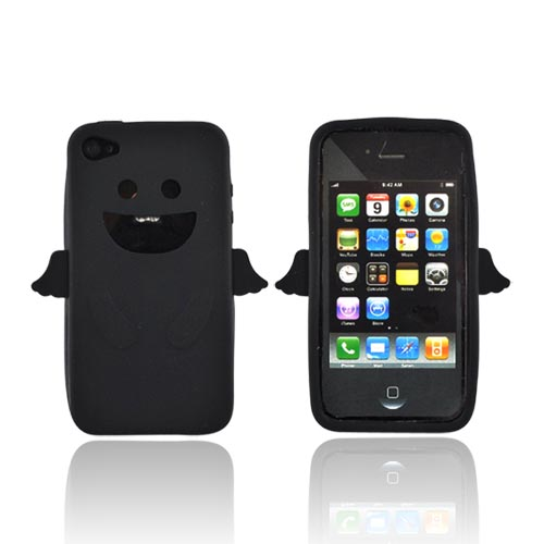 Apple Verizon/ AT&T iPhone 4, iPhone 4S Silicone Case - Black Angel w/ Wings