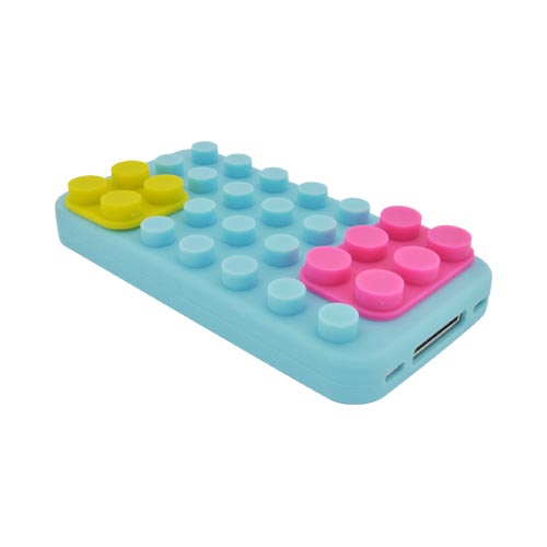 AT&T/ Verizon Apple iPhone 4, iPhone 4S Silicone Case - Sky Blue/ Hot Pink/ Yellow Blocks