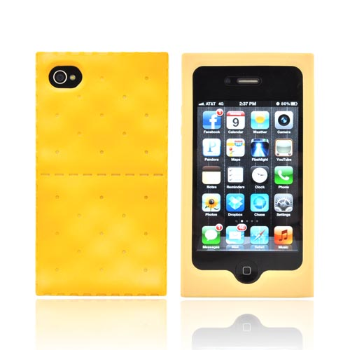 AT&T/ Verizon Apple iPhone 4, iPhone 4S Silicone Case - Golden Brown Cracker