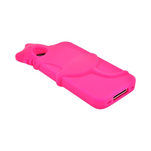 AT&T/ Verizon Apple iPhone 4, iPhone 4S Silicone Case w/ 3D Cat - Pink