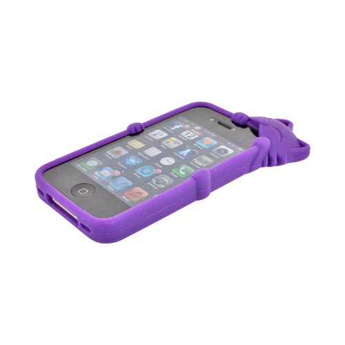 AT&T/ Verizon Apple iPhone 4, iPhone 4S Silicone Case w/ 3D Cat - Purple