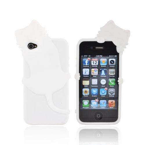 AT&T/ Verizon Apple iPhone 4, iPhone 4S Silicone Case w/ 3D Cat - White
