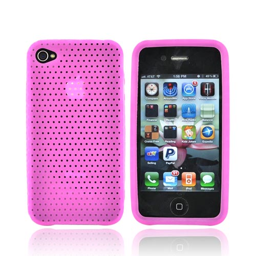 Luxmo Verizon/ AT&T iPhone 4, iPhone 4S Silicone Case w/ Holes Texture - Hot Pink