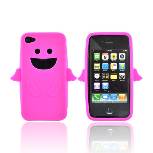 Apple Verizon/ AT&T iPhone 4, iPhone 4S Silicone Case - Hot Pink Angel w/ Wings