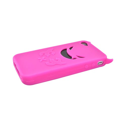 Apple Verizon/ AT&T iPhone 4, iPhone 4S Silicone Case - Hot Pink Lil Monster w/ Horns