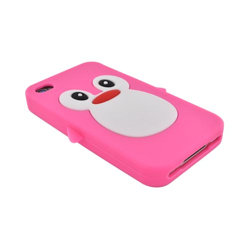 AT&T/ Verizon Apple iPhone 4. iPhone 4S Silicone Case - Hot Pink Penguin