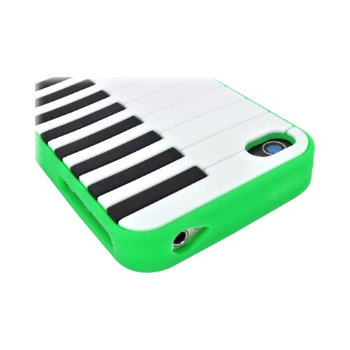 AT&T/ Verizon Apple iPhone 4, iPhone 4S Silicone Case - Neon Green Piano