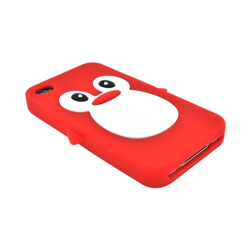 AT&T/ Verizon Apple iPhone 4. iPhone 4S Silicone Case - Red Penguin