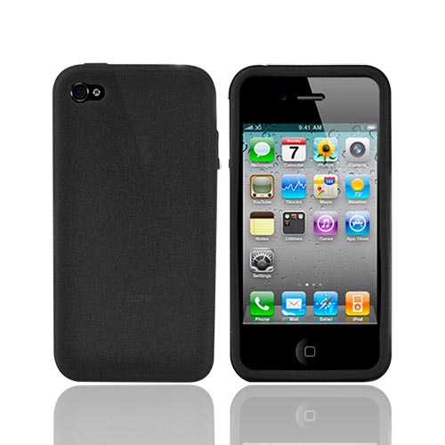 Apple iPhone 4 Silicone Case, Rubber Skin - Black