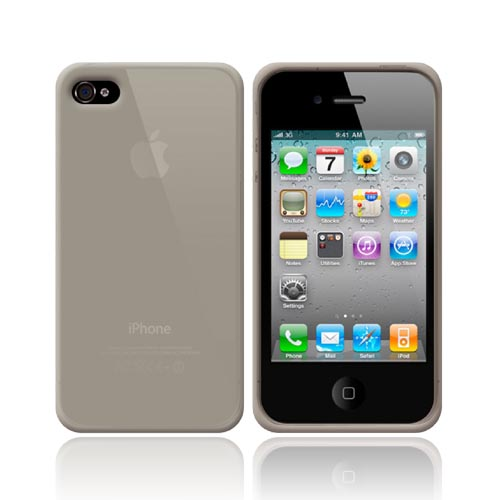 Apple iPhone 4 Silicone Case, Rubber Skin w/ Textured Surface - Smoke