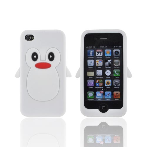 AT&T/ Verizon Apple iPhone 4. iPhone 4S Silicone Case - White Penguin