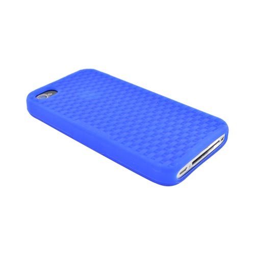 Premium Apple iPhone 4 Silicone Case, Rubber Skin - Blue Woven Pattern