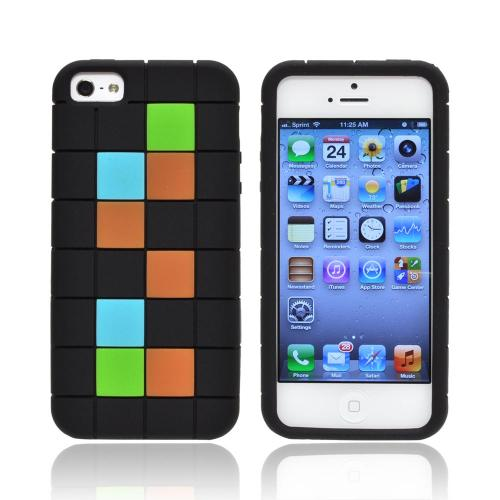 Apple iPhone SE / 5 / 5S  Case,  [Green/ Blue/ Brown Blocks on Black]  Slim & Flexible Anti-shock Crystal Silicone Protective TPU Gel Skin Case Cover