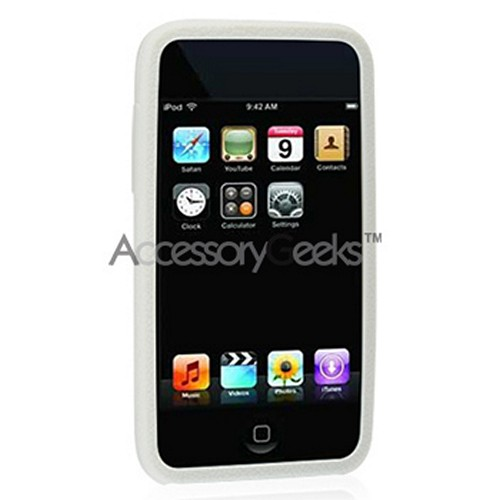 Apple iPod Touch 2 & 3 Silicone Case, Rubber Skin - Solid White