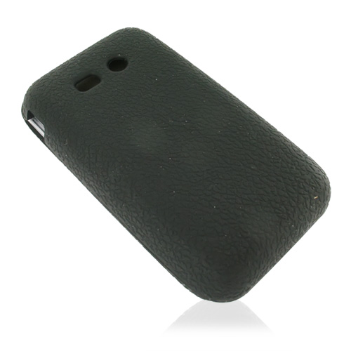 Kyocera Laylo M1400 Leathery Textured Silicone Case, Rubber Skin - Black