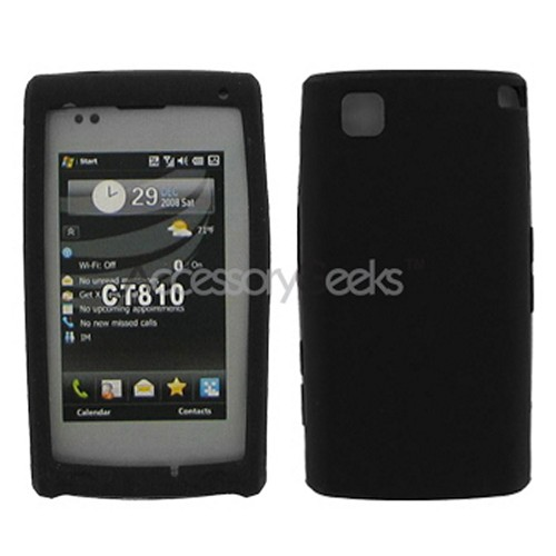 LG Incite CT810 Silicone Case, Rubber Skin - Black
