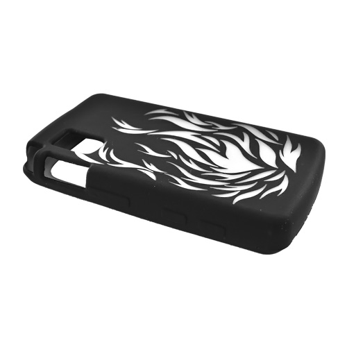 LG VU Silicone Case, Rubber Skin - Clear Flame on Black