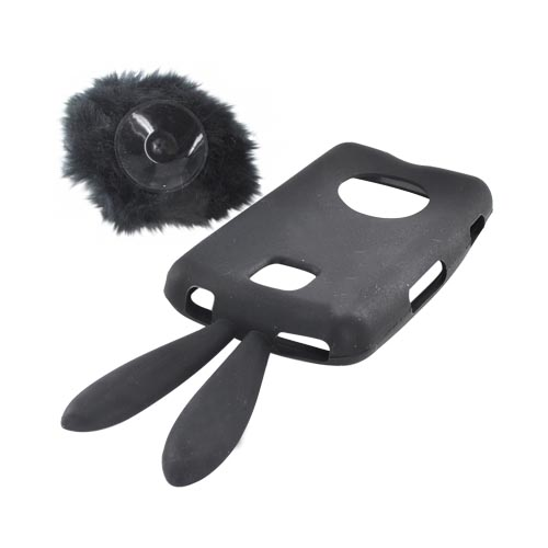 LG Optimus M MS690 Silicone Case w/ Fur Tail Stand - Black Bunny