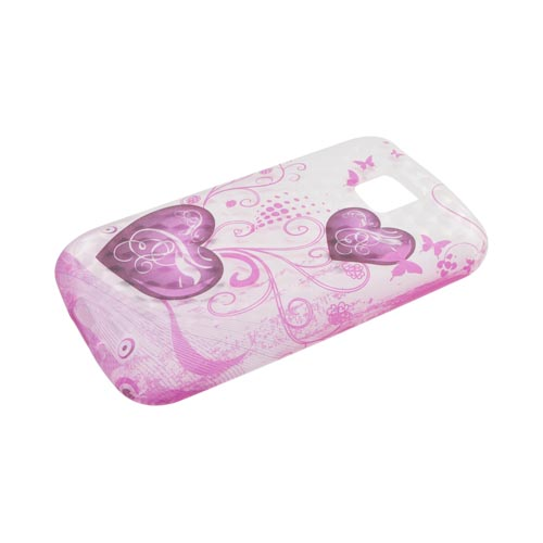 LG Optimus M MS690 Silicone Case - Pink Hearts & Butterflies on Frost White