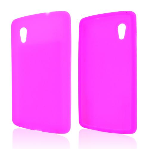 Hot Pink Silicone Skin Case for LG Google Nexus 5