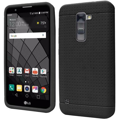 LG Stylo 2 Plus Case, Soft & Flexible Reinforced Silicone Skin Case Cover [Black]