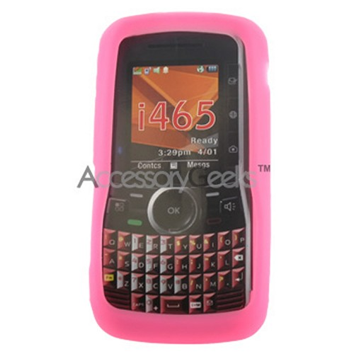 Motorola Clutch i465 Silicone Case, Rubber Skin - Hot Pink