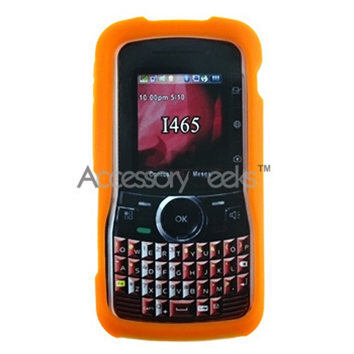 Motorola Clutch i465 Silicone Case, Rubber Skin - Orange