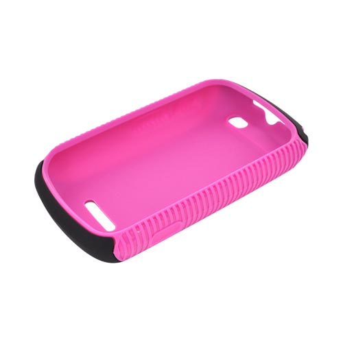 Motorola Clutch+ i475 Hard Back over Crystal Silicone Case - Hot Pink/ Black
