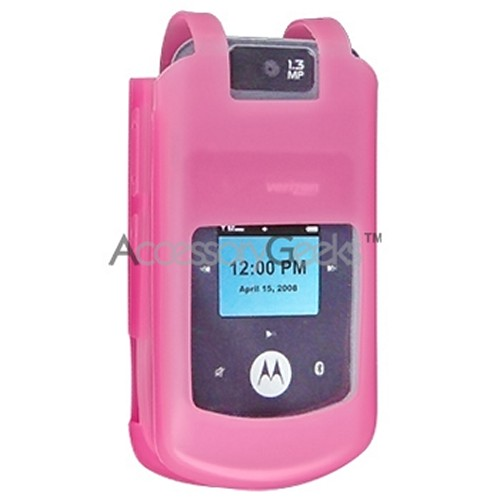 Motorola W755 Rubber silicone case, rubber skin - Hot Pink