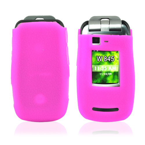 Motorola Quantico W845 Leathery Texture Silicone Case, Rubber Skin - Hot Pink
